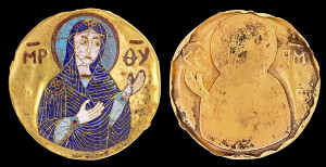 Byzantine (or Kievan Rus) cloisonn? enamel plaque medallion of the Mother of God, XII century. Gold. Antique.  The medallions may have been sent as a gift from the Byzantine court to the neighboring Christian Kievan Rus. In this Byzantine technique, compartments, or cells, were outlined by thin sheets of gold or silver, filled with colored glass paste, and then fired at a high temperature, with the melting glass forming a solid surface. Diam. 34 mm.